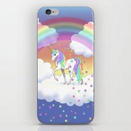 Pretty Rainbow Unicorn and Stars iPhone Skin