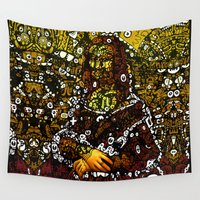 mona lisa Wall Tapestries featuring #MONA #LISA by JOHNF