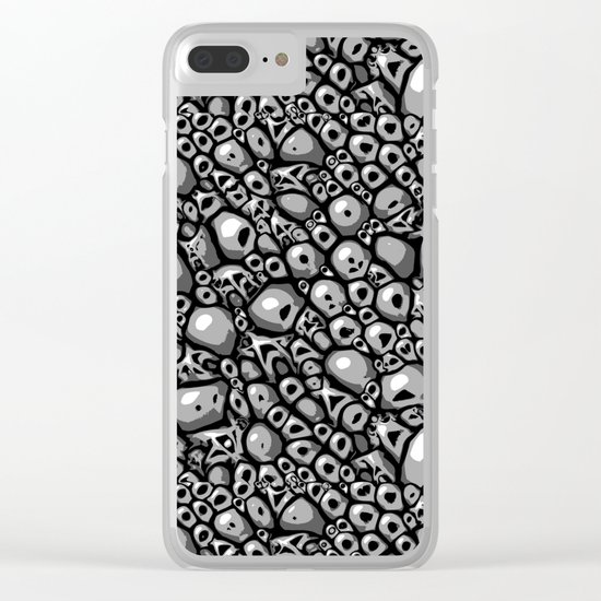 Monochrome Stone Tile Clear iPhone Case