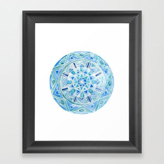 Blue Mandala 1 Framed Art Print