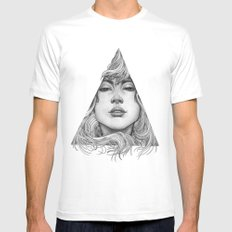 Triangle Portrait White MEDIUM Mens Fitted Tee