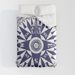 Nautical Compass   Vintage Compass   Navy Blue and White   Comforters