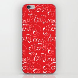 Merry Christmas Type Pattern iPhone Skin