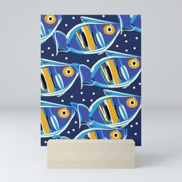 Blue Fishes of Cannes Pattern Art Mini Art Print