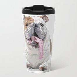 Bulldog with a Big Tongue Illustration Travel Mug