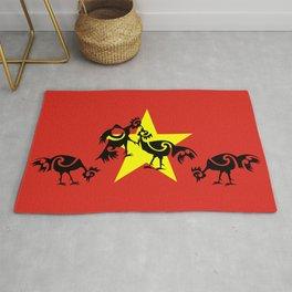 Vietnam Flag, Roosters Sparring Rug
