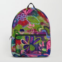 Once upon a wish - Intuitive flower painting - Mixed media Backpack