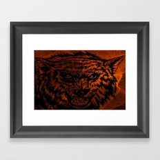 angry wolf fire Framed Art Print