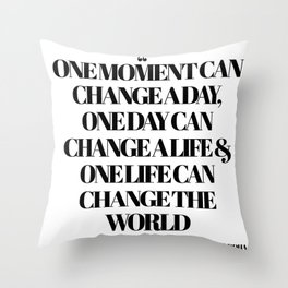 Buddha One Moment Quote Throw Pillow