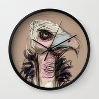 persona Wall Clocks featuring The Vulture by Jaleesa McLean