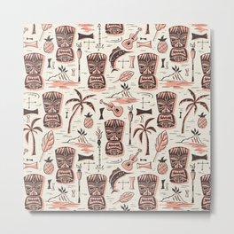 Tropical Tiki - Cream Pink Metal Print