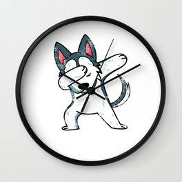 Cute Animal Dab Husky Wall Clock