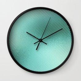 Minimalist Diagonal Line Pattern in Iridescent Blue-Green 24 Wall Clock