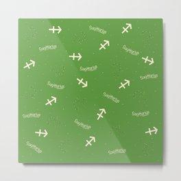 Sagittarius Pattern - Green Metal Print