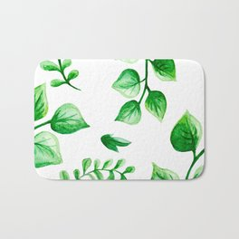 Watercolour Ferns And Vines Leafy Green Continuous Pattern Bath Mat