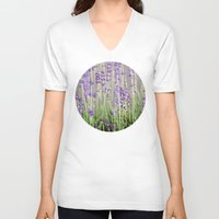lavender V-neck T-shirts featuring Lavender by A Wandering Soul