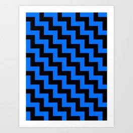 Black and Brandeis Blue Steps LTR Art Print