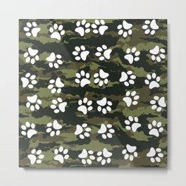 Paw Prints Pattern Dog & Puppy (Camo) Metal Print