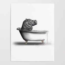 Hippo in Bath Poster