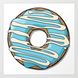 Donut with Frosting and Icing - Blue White Art Print