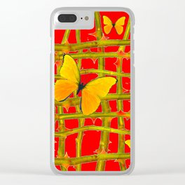 YELLOW BUTTERFLIES & RED THORN LATTICE Clear iPhone Case