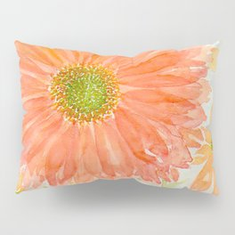 Orange Coral and Yellow Daisy Watercolor Flower Pillow Sham