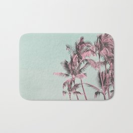 Tropical Palm Trees In Surreal Pink Bath Mat