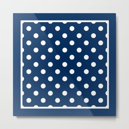Navy Blue Polka Dots Preppy Nautical Metal Print