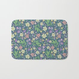 Yellow jonquil with purple crocuses and willow branches on dark background Bath Mat