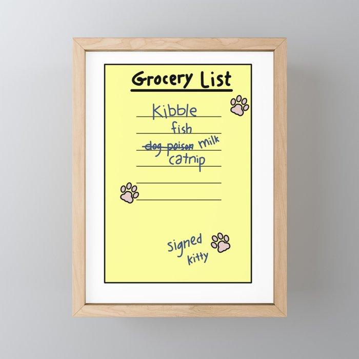 Kitty's Grocery List Framed Mini Art Print