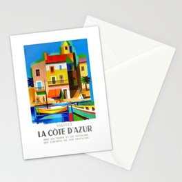 1963 Cote d'Azur French Riviera Vintage World Travel Poster Stationery Cards