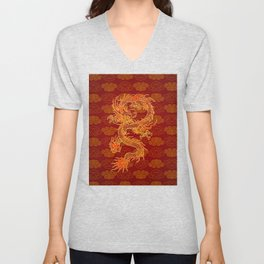 Traditional Chinese Red Dragon                                         Unisex V-Neck