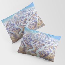 Heinrich Berann - Panoramic Painting of Denali National Park with labels (1994) Pillow Sham