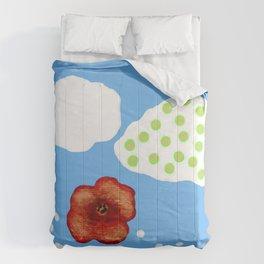 Coquelicot et deux nuages bis Comforters