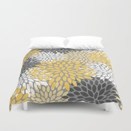 Modern Elegant Chic Floral Pattern, Soft Yellow, Gray, White Duvet Cover