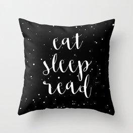 Eat, Sleep, Read (Stars) Throw Pillow