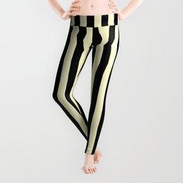 Cream Yellow and Black Vertical Stripes Leggings