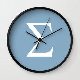 Greek letter Sigma sign on placid blue background Wall Clock