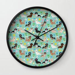 Dachshund beach sunshine summer days doxie dachsie gift must have dog gifts Wall Clock
