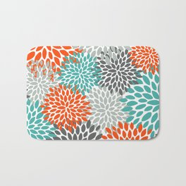 Floral Pattern, Abstract, Orange, Teal and Gray Bath Mat
