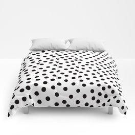 Warped Black Polka Dot Rain Comforters