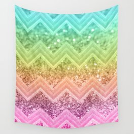 Rainbow Glitter Chevron #1 #shiny #decor #art #society6 Wall Tapestry