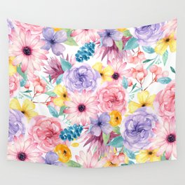 Modern elegant pink lavender yellow watercolor floral Wall Tapestry