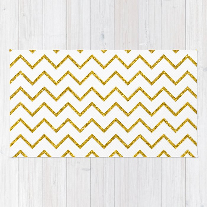 Gold glitter chevron on white - Luxury pattern Rug