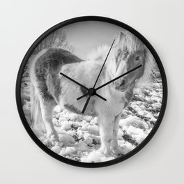 Snow Ponies Wall Clock