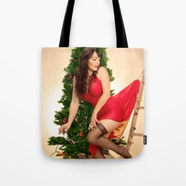 """Tree Trouble"" - The Playful Pinup - Christmas Tree Pin-up Girl by Maxwell H. Johnson Tote Bag"