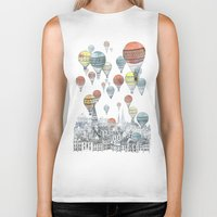orange pattern Biker Tanks featuring Voyages over Edinburgh by David Fleck