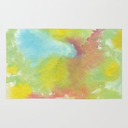 Green, Yellow, Red and Blue Tie Dye ink painting Rug