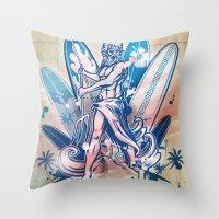 surfboard Throw Pillows featuring poseidon surfer on surfboard by Doomko