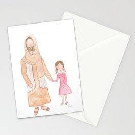 Jesus with Girl Stationery Cards